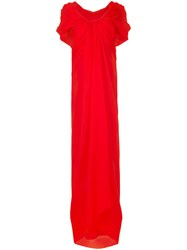 Paule Ka Long Draped Woven Dress Women Silk 38 Red