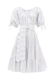 Loup Charmant Vera Striped Tiered Cotton Blend Dress Blue Stripe