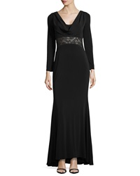 Mark And James By Badgley Mischka Long Sleeve Evening Gown W Lace Detail Black