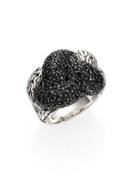 John Hardy Classic Chain Black Sapphire And Sterling Silver Large Braided Ring Silver Black