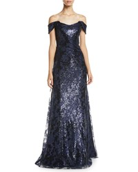 Rene Ruiz Off The Shoulder Lace And Sequin Gown Navy
