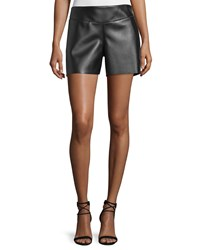 Cnc Costume National Mid Rise Leather Shorts Black Women's