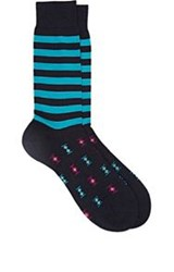 Richard James Striped And Ikat Pattern Mid Calf Napena Socks Blue