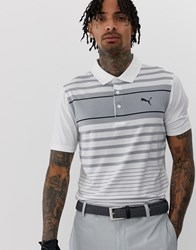 Puma Golf Spotlight Striped Polo In White