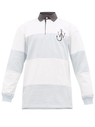 J.W.Anderson Jw Anderson Logo Embroidered Cotton Rugby Shirt Blue White