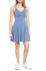 Soprano Women's Cross Back Fit And Flare Dress Periwinkle