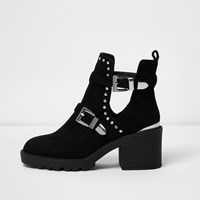 River Island Womens Black Stud Buckle Cut Out Ankle Boots