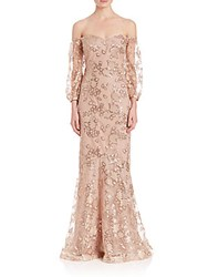 Teri Jon Off The Shoulder Sequin Lace Gown Champagne