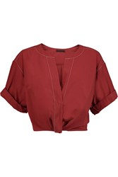 Donna Karan Cropped Ruched Cotton Poplin Top Red