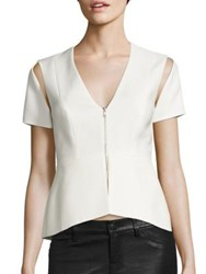 Bcbgmaxazria Cutout Peplum Top Off White
