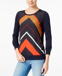 Tommy Hilfiger Printed Crew Neck Sweater Only At Macy's Masters Navy Multi