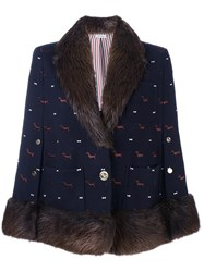 Thom Browne 'Dog' Pattern V Neck Coat Blue