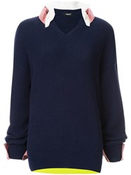 Undercover Layered Knitted Sweater Blue