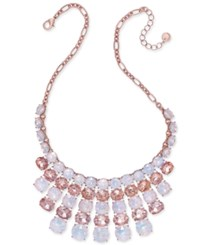 Charter Club Rose Gold Tone Clear And Pink Crystal Statement Necklace Only At Macy's