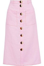 Nicholas Woman Button Detailed Linen Midi Skirt Baby Pink