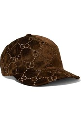 Gucci Metallic Velvet Jacquard Baseball Cap Brown