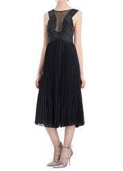 Leon Max Pleated Chiffon And Satin Dress