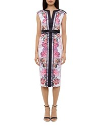 Ted Baker Shawnie Painted Posie Fitted Midi Dress Baby Pink
