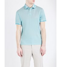 Etro Paisley Trimmed Silk And Cotton Blend Polo Shirt Mint