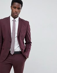 Selected Homme Slim Fit Suit Jacket In Damson Red