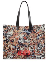 Kenzo Tiger Cotton Jacquard And Leather Tote Multicolor