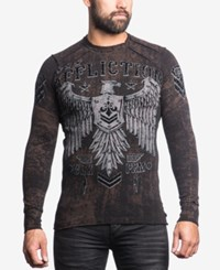Affliction Men's Graphic Print Thermal T Shirt Chocolate Black