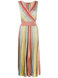 Missoni Striped Pleated Dress Pink