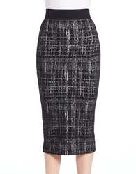Essentiel Marled Midi Pencil Skirt Black White