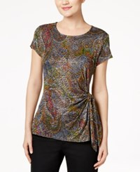 Msk Glitter Printed Side Knot Top Light Pastel Grey