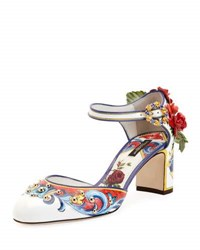 Dolce And Gabbana Floral Embellished Mary Jane Pump Multi