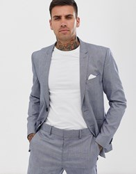 Only And Sons Slim Fit Checked Suit Jacket Grey