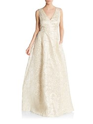 Erin By Erin Fetherston Gwendolyn Metallic Embroidered Gown Ivory Gold