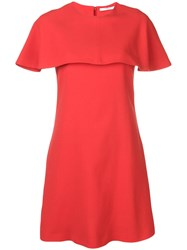 Givenchy Short Sleeve Cape Dress Red