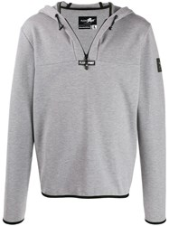 Plein Sport Logo Hoodie With Zip Detail Grey