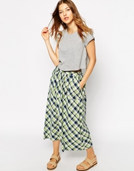 Le Mont St Michel Midi Skirt In Paid Greenblueoffwhite