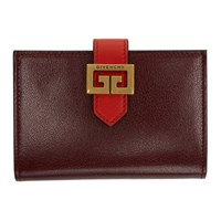 Givenchy Burgundy And Red Gv3 Card Holder