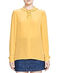 The Kooples Silk Ruffle Detail Shirt Yellow