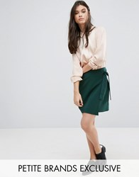 Alter Petite Wrap Front Mini Skirt With Tie Side Detail Forest Green