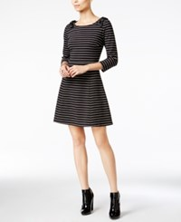 Maison Jules Striped Bow Shoulder Fit And Flare Dress Only At Macy's Black Combo