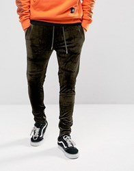 Sixth June Skinny Joggers In Khaki Velour With Zip Ankle Green