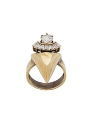 Iosselliani White Eclipse Stacked Spike Ring Gold