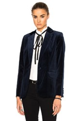 Frame Denim Velvet Mod Blazer In Blue