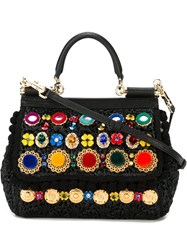 Dolce And Gabbana Embroidered Woven Tote Black
