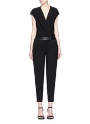 Comme Moi Leather Trim Wrap Front Jumpsuit Black