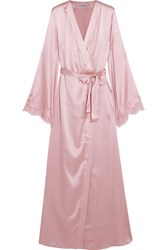 I.D. Sarrieri Tendresse Chantilly Lace Trimmed Silk Blend Satin Robe Pastel Pink