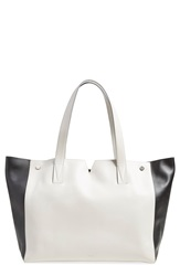 Vince 'Medium Signature Collection' Leather Tote Pearl Black