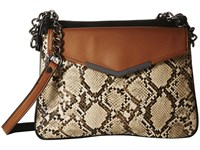 French Connection Lenny Crossbody Nude Lamb Pu Snake Cross Body Handbags Brown