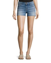 J Brand 1044 Mid Rise Patchwork Denim Cutoff Shorts Zenith Light Blue