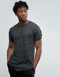 Only And Sons Longline T Shirt With Raw Edge Stitch Detail Black