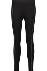 Splendid Faux Leather Trimmed Ponte Leggings Black